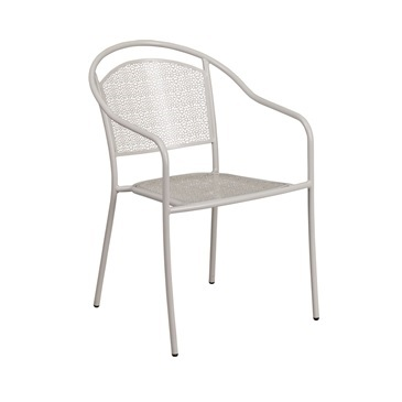Belladona Light Gray Outdoor Patio Arm Chair With Eased Hoop Back