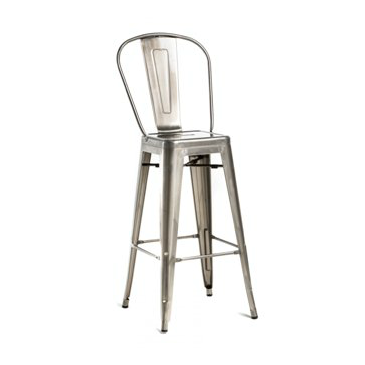 High Back Galvanized Brushed Nickel Finish Tolix Chair