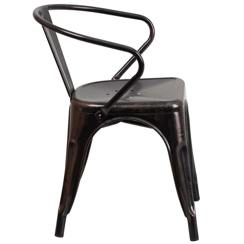 Galvanized Antique Black Copper Tolix Arm Chair In Outdoor