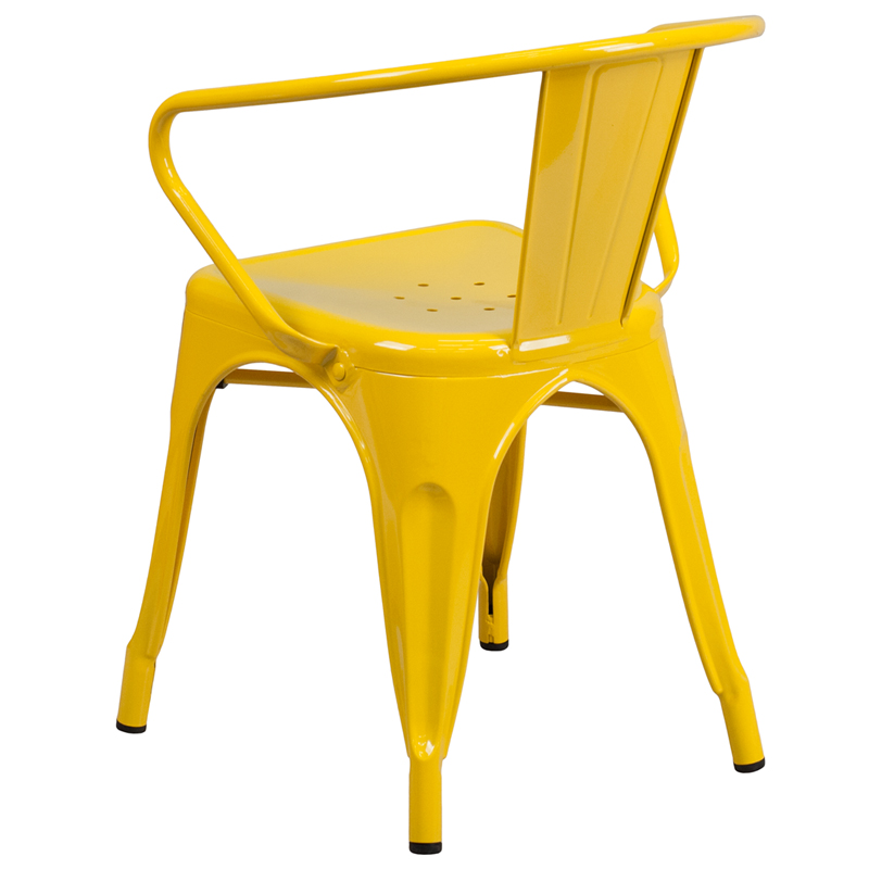 Superbe Vibrant Yellow Galvanized Tolix Arm Chair In Outdoor