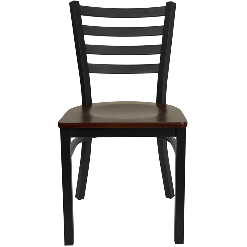 Bettina Dark Iron Metal Side Chair Walnut Wood Seat
