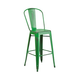 Office Green Weathered High Back Tolix Bar Stool Large Seat 1