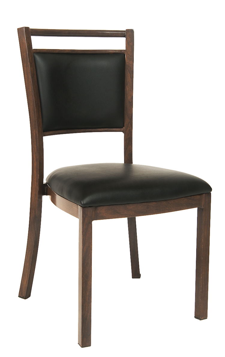 Carlson Metal Wood Grain Chair Upholstered Seat And Back